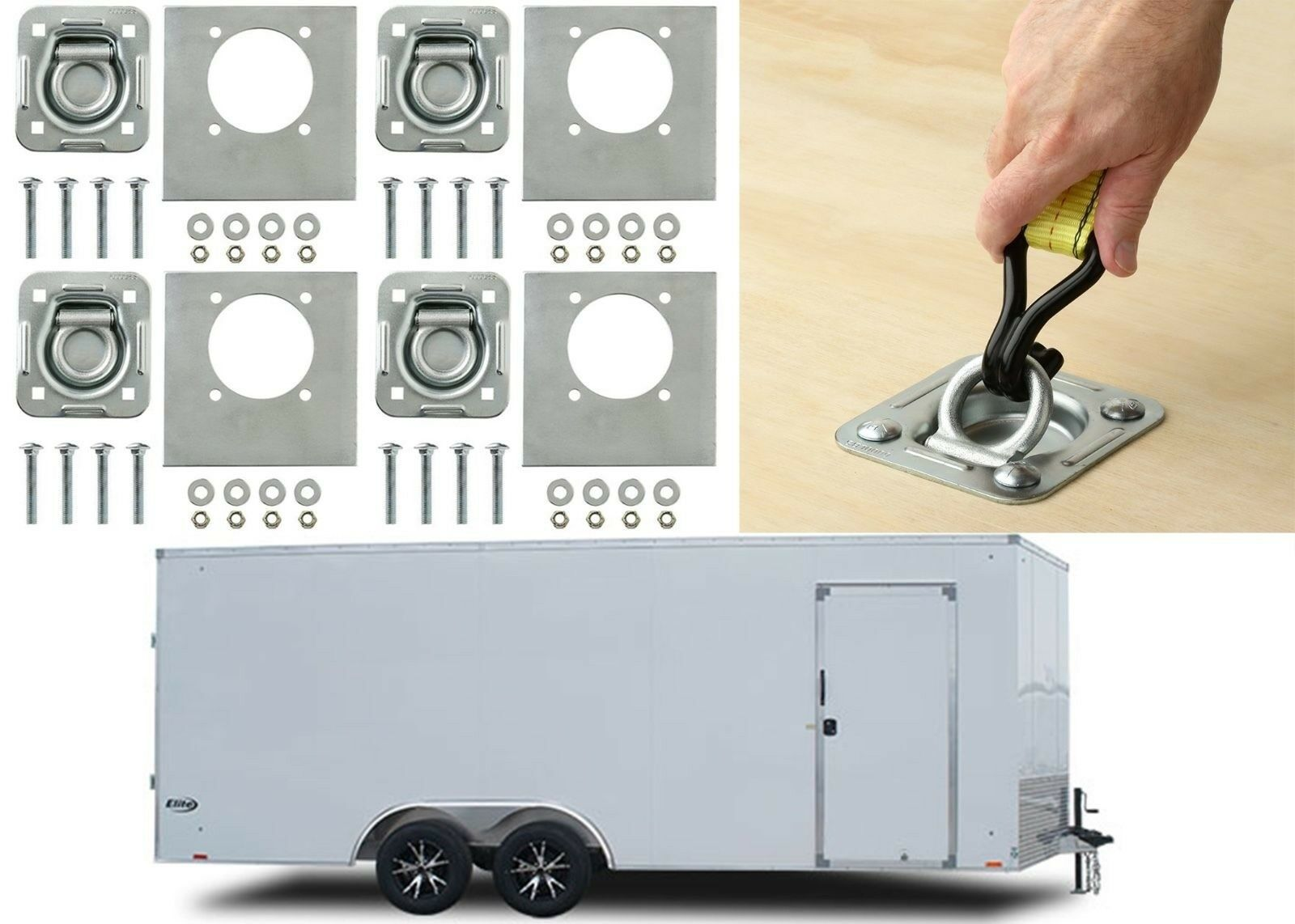 4-pack - Recessed Pan D-ring Trailer Tie Downs 6,000 Lb