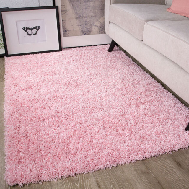 Baby Pink Girls Shaggy Rug for Living Room Bedroom House Floor 60cm ...