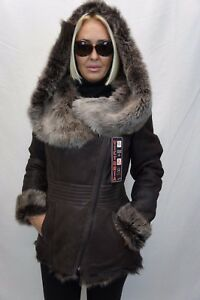 Brown 100/% Sheepskin Shearling Leather Lambskin Coat Jacket removable Hood XS-5X