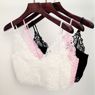 Women Crochet Lace Sexy Cami Crop Bustier Top Bodycon Slim Vest Bralette Bra New