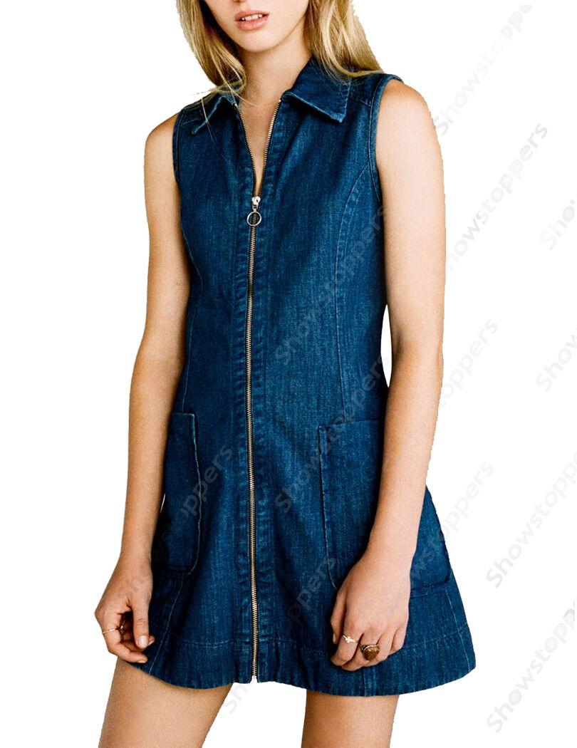 NEW Womens DENIM Dress Ladies PINAFORE BOHO Shift Jean Dress SIZE 6 8 10 12 14