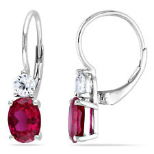 Amour Sterling Silver Gemstone and White Sapphire Earrings