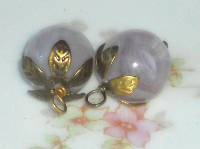 #572 Vintage Pink Drops Dangles Dangle Drop Teardrops Faceted Shabby Connectors