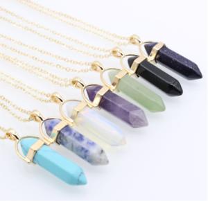 Piedras-preciosas-naturales-talladas-con-punta-hexagonal-Reiki-Chakras-Colgante-de-curacion-Collares