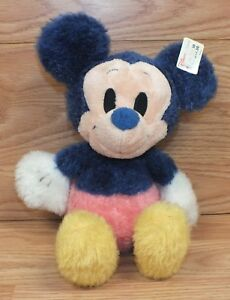 Genuine-Disney-Store-Pink-amp-Purple-Fuzzy-Baby-Mickey-Mouse-Plush-Doll-READ