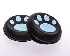 2 x PS4 XBox Gummi Kappen Controller Caps Thumbstick Katze Pfote Schwarz - Blau