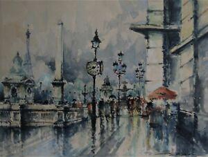 3120* Stéphane Wrobel (1927-2007) authentique aquarelle paris sous la pluie