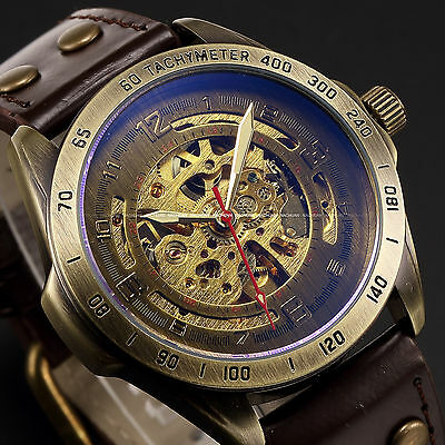 Retro Bronze Steampunk Skeleton Automatic Mechanical Leather Analog Men's Watch