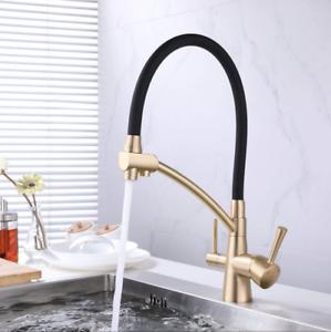 Black Gold Fleaker Sink Mixer Tap Pull Down Sprayer Kitchen Faucet