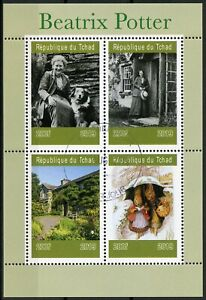 Chad-2019-CTO-Beatrix-Potter-4v-M-S-III-Writers-Dogs-Rabbits-Animals-Stamps
