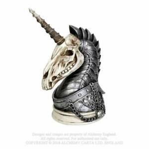 Alchemy-Gothic-Mystic-Geistalon-Unicorn-Skull-Magnetic-Horn-Cast-Resin-Figurine
