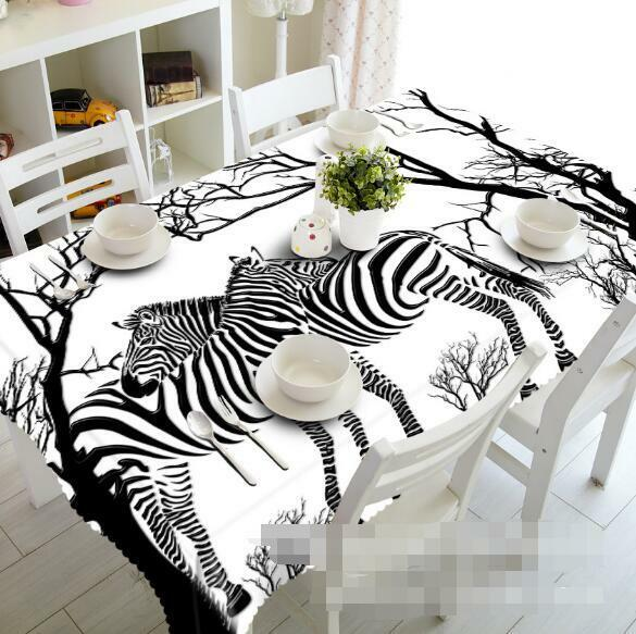 3D Art Zebra 4 Tablecloth Table Cover Cloth Birthday Party Event AJ WALLPAPER AU