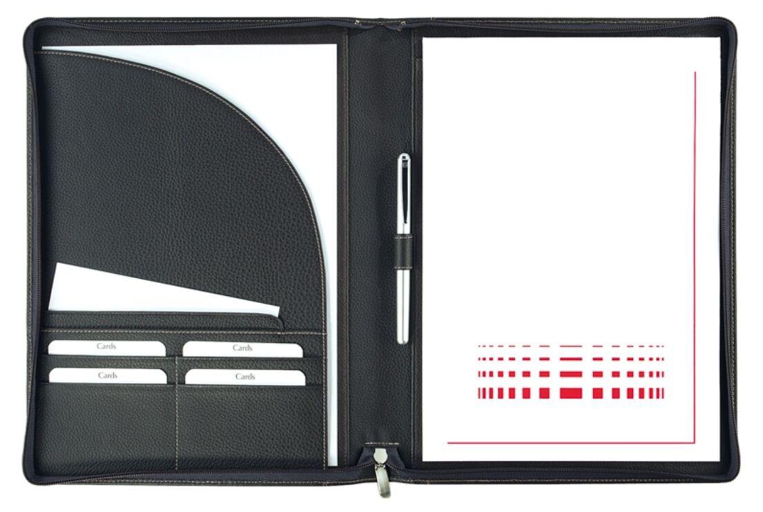 Schreibmappe A4 mit Reißverschluss Copana-Rindnappaleder – von FIHA-Promotion | Zu einem niedrigeren Preis  | Lebensecht  | Verkauf