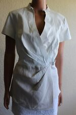 Lafayette 148 Ivory Leather Linen Crossover Wrap Cap Sleeve Top Women's 14