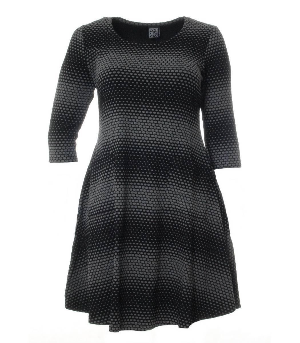 Winterkleid aus Stretch Viskose von Pont Neuf in grey black knielang 3 4 Arm