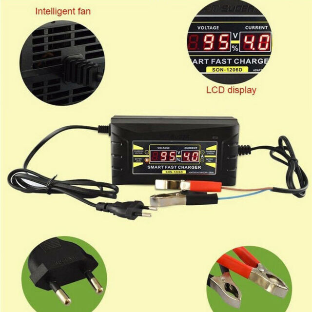 12V Battery Charger For Automobile Motorcycle LCD Charger Display With EU Plug