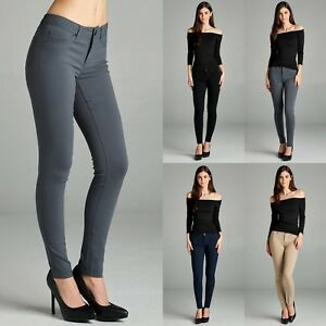 0722c6527dc Image is loading Womens-Skinny-Pencil-Formal-Pants-Trousers-Jeggings -Charcoal-