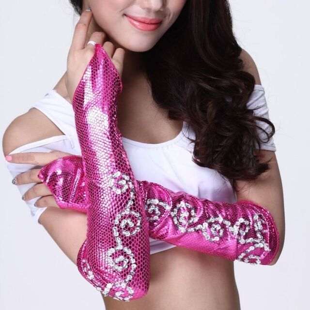 Belly Dance Bauchtanz M-Finger Schlangenhaut Muster Handschuhe 9 Farben