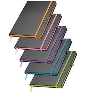 Schwarzes Notizbuch liniert DIN A5 Büro Schule Notizen 160 Seiten Uni stf105