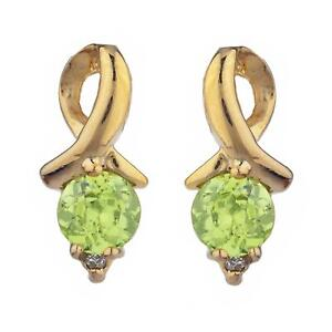 Details About 14kt Gold Peridot Diamond Round Design Stud Earrings