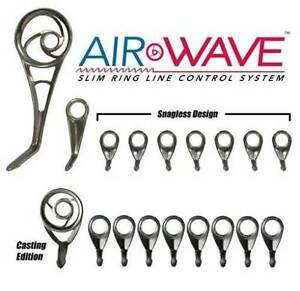 W// MATCHING TIP AMERICAN TACKLE AIRWAVE SPINNING /& CASTING GUIDE SET-18 GUIDES