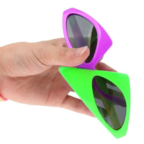 2-Color Asymmetric Triangle Glasses Novelty Neon Fashion Costume Halloween Party