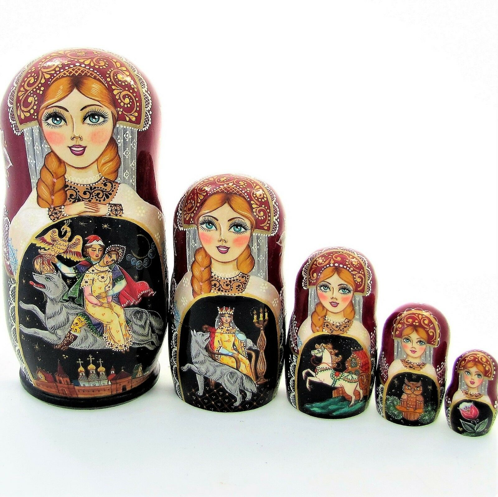 5 Poupées russes H19cm exclusive Palekh peint main signé Matriochka Matrioshka