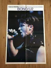 VINTAGE DOUBLE SIDED POSTER BONO ( U2 ) + DAVID BOWIE 1986 cm. 85 x 55