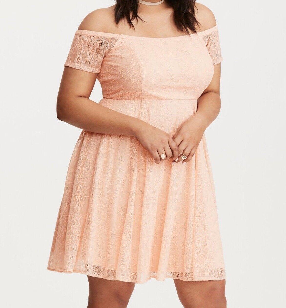 Torrid Lace Off the Shoulder Dress bluesh Pink 3X 24