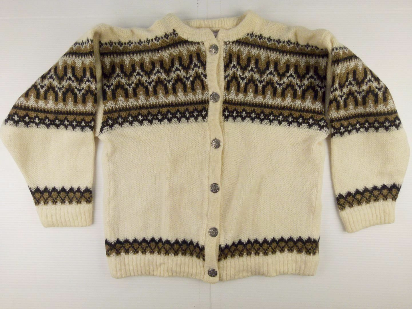 J240 Warmth of NORWAY vintage folk heavy wool cardigan sweater size M excellent
