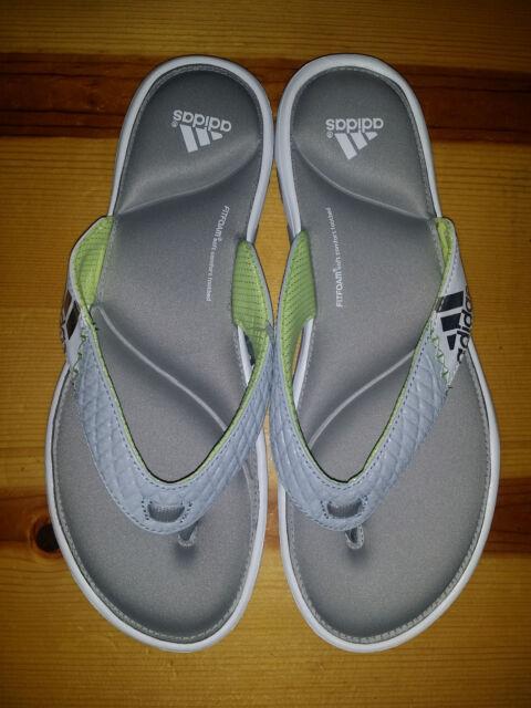 808c665d8c1dd1 NEW Womens 9 Adidas Anyanda Flex Thong Sandal White Grey Green Silver