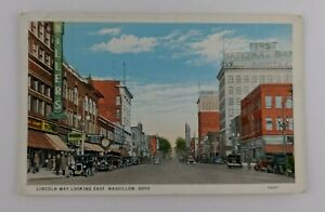 Postcard-Lincoln-Way-Looking-East-Massillon-Ohio-First-National-Bank-Shops