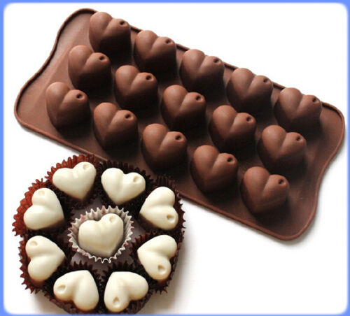 15 Hearts Shape Silicone Chocolate Mould Ice Cube Jelly Candle Love Valentine UK