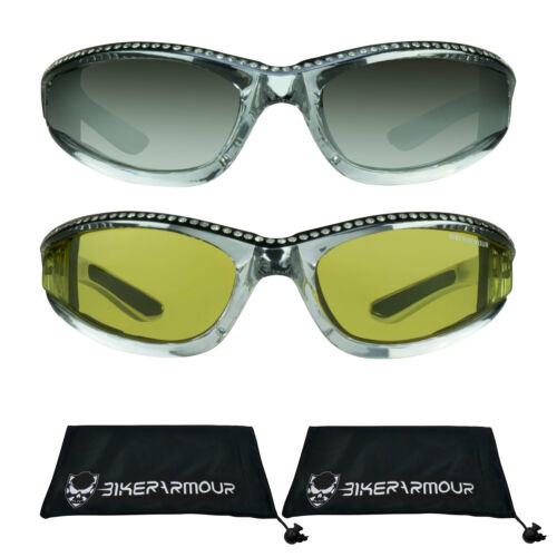 Womens Motorcycle Riding Biker Sunglasses RHINESTONES Chrome Biker Glasses Foam