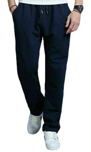 Mens Fleece Bottoms Open Elastic Hem Track Pants Casual Joggers Jogging Trousers