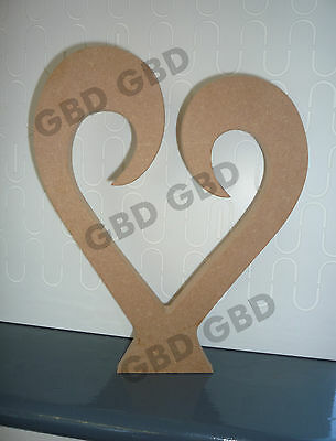 HEARTS CURLY IN MDF FREESTANDING/WOODEN CRAFT SHAPE/BLANK DECORATION