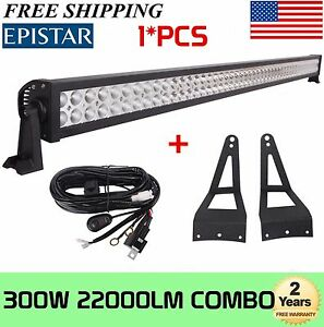 52''Inch 300W LED Light Bar+Roof Mount Brackets 99-15 Ford F250/F350+Wiring kit