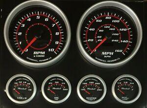 C2-Redline-6-Gauge-Set-5-inch-Speedo-amp-Tach-Silver-Bezels-73-10-Ohm-2378