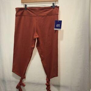 JoyLab-Womens-Legging-Capri-Pants-Cognac-Mid-Rise-Ankle-Tie-Hidden-Pocket-XL-New