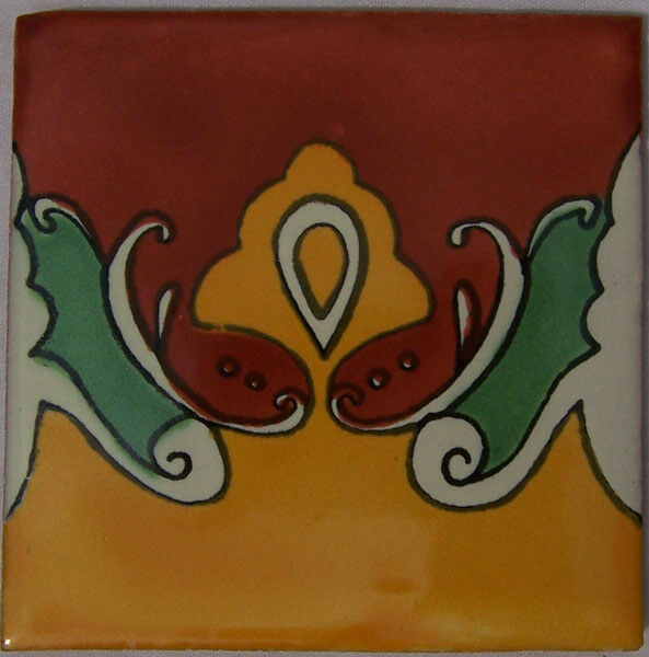 C206 - Mexican Handmade Talavera Clay Tile Folk Art 4x4