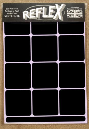 3M Scotchlite Reflective Reflex A5 Sticker Pack Squares Black Decal Bike Helmet
