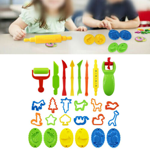 26pcs//Set Plastic Childrens Dough Clay Molding Rolling Cutting Crafts DIY Tools