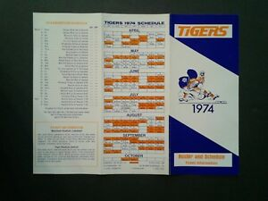 1974-Detroit-Tigers-Baseball-Tri-Fold-Schedule-Ticket-Brochure-Roster-RARE