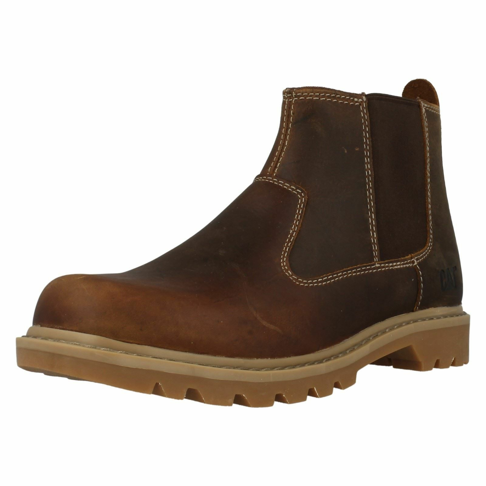 MENS CATERPILLAR DARK BEIGE LEATHER PULL ON ANKLE BOOT STYLE - DRYSDALE