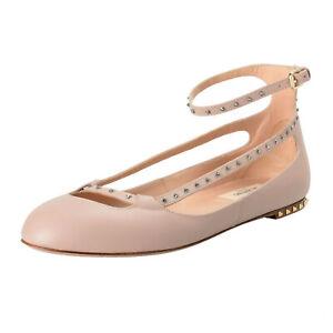 Valentino-Garavani-Women-039-s-Leather-Studded-Ballerina-Flats-Shoes-Sz-7-8-9-10