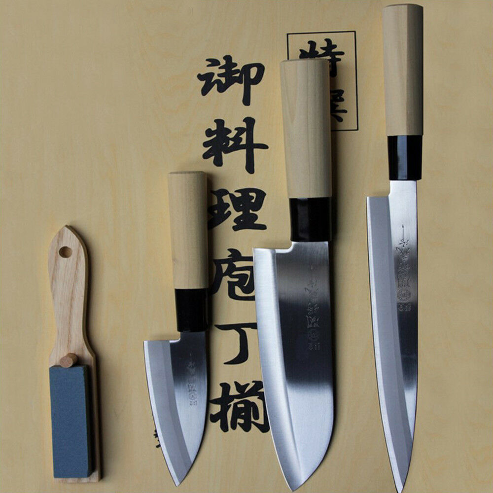 4 pezzi cuoco giapponese SET COLTELLO Sashimi Santoku kodeba con Pitra per affilare