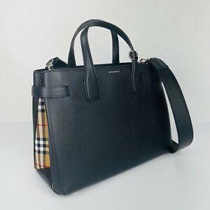 Burberry Black Leather Medium Banner Check House Tote Crossbody Bag 80063231