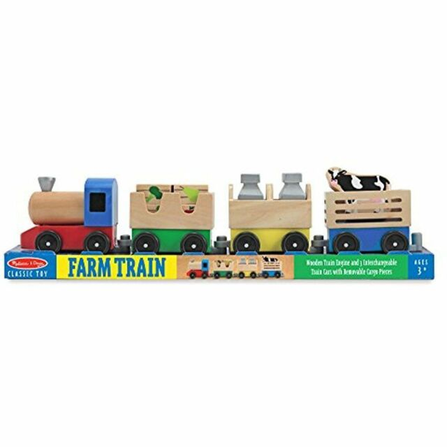 Melissa Doug Wooden Farm Train Set Classic Toy 3 Linking Cars Handcrafted Toys For Sale Online Ebay