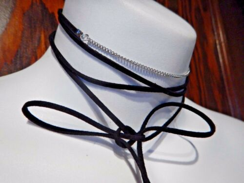 BLACK /& SILVER FILIGREE LEAVES BOLO NECKLACE wrap tie strand faux suede new R1
