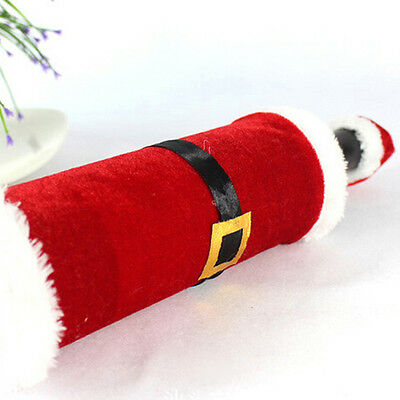 2Pcs Christmas Santa Clause Clothing Hat Dress Wine Bottle Cover Decoration